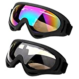 Pack of 2 Ski Goggles, Outdoor Glasses Snowboard Ski Goggles Motorcycle Goggles Eye wear Dust-proof Protective Combat Play Games Goggles with UV Protection, Windproof, Anti Glare (Multicolor + Amber)