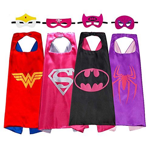 Halloween Comics Cartoon Hero girl 4pcs Kids Dress Up Costumes Satin Capes Masks