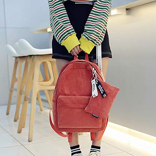 Tebatu Travel Backpack, Casual Corduroy Shoulder Bag Teenagers Rucksack New Orange by Tebatu (Image #2)