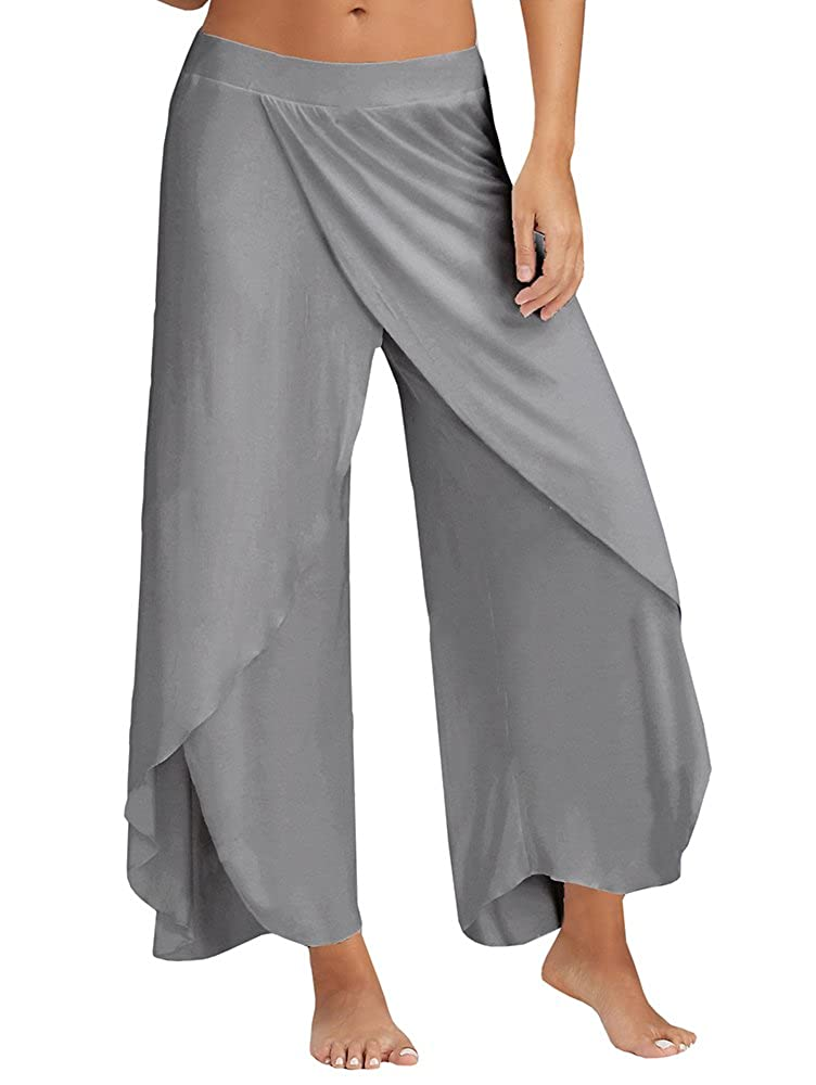 76db215a836b74 Ferbia Palazzo Pants Yoga Sweat Womens High Slit Solid Flowy Crooped  Trousers at Amazon Women's Clothing store: