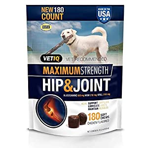 VetIQ Maximum Strength Hip & Joint, 180 Chicken Flavored Soft Chews for Dogs, Value Size ONE Pack ( 22.2 oz ) 106