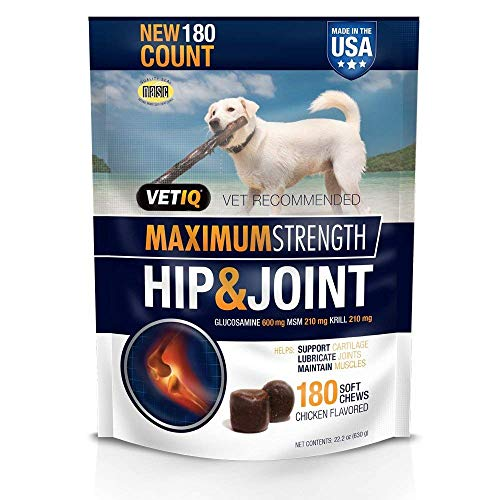 - VetIQ Maximum Strength Hip & Joint, 180 Chicken Flavored Soft Chews for Dogs, Value Size ONE Pack ( 22.2 oz )