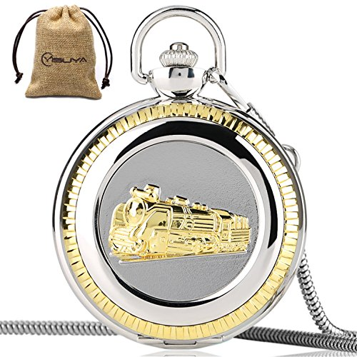 Vintage Train Railroad Conductor's Locomotive Quartz Pocket Watch Roman Numberal with Chain by MILIYA