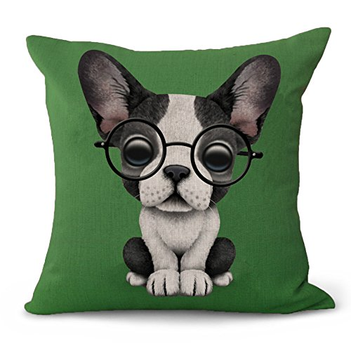 (kithomer New Arrival Lovely Animals Boston Terrier Baby Wearing Glasses Throw Pillow Covers Home Decor Cotton Linen Cushion Cover Pillow Case for Sofa Couch 18 x 18 Inch (Green/Dog, 18 x 18))