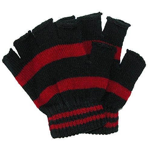 Black Striped Fingerless Gloves (CTM Toddler Stretch Striped Fingerless Gloves, Black/Red)