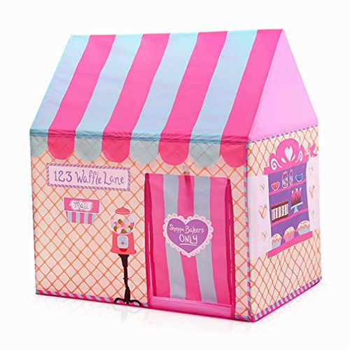 Girls Indoor Outdoor Play Tents Palace Tents Kids Ice Cream and Bakery Shop Playhouse (Pink)