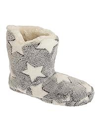 Womens/Ladies Star Print Fleece Boot Slippers
