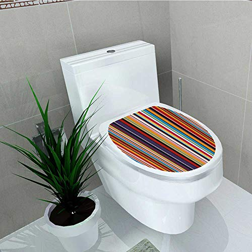 (Analisa A. Houk Toilet Seat Wall Stickers Paper Stripes Funky Artistic Tile Decals DIY Decoration W6 x L8)