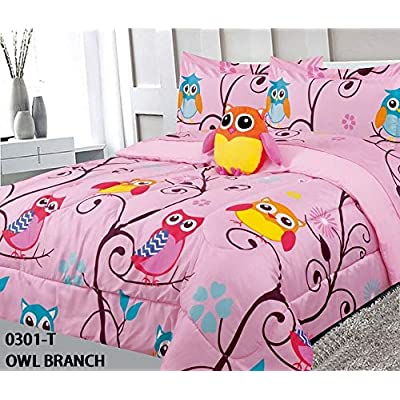 6 Piece Twin Size Kids Girls Teens Comforter Set Bed in Bag with Shams, Sheet set and Decorative Toy Pillow, Owl Branch Print Pink Yellow Turquoise Girls Kids Comforter Bedding Set w/Sheets,T 6pc OB: Kitchen & Dining