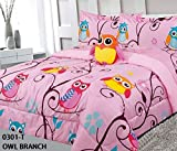6 Piece Twin Size Kids Girls Teens Comforter Set Bed in Bag with Shams, Sheet set and Decorative Toy Pillow, Owl Branch Print Pink Yellow Turquoise Girls Kids Comforter Bedding Set w/Sheets