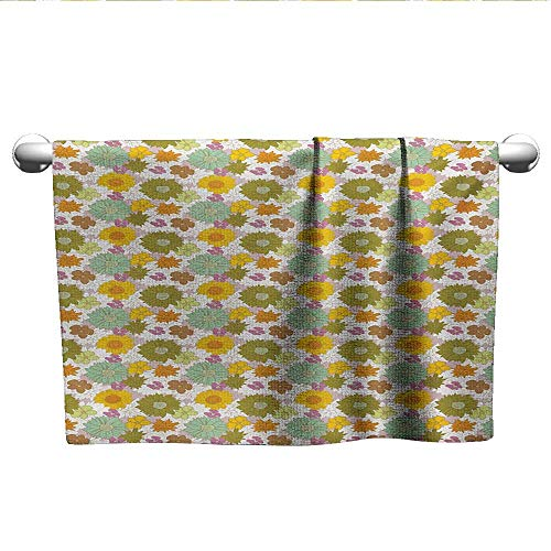 Flower,Hair Towel Retro Colored Big and Small Blossoms Ornamental Fresh Nature Country Cottage Pattern Microfiber Towels for Body Multicolor W 24