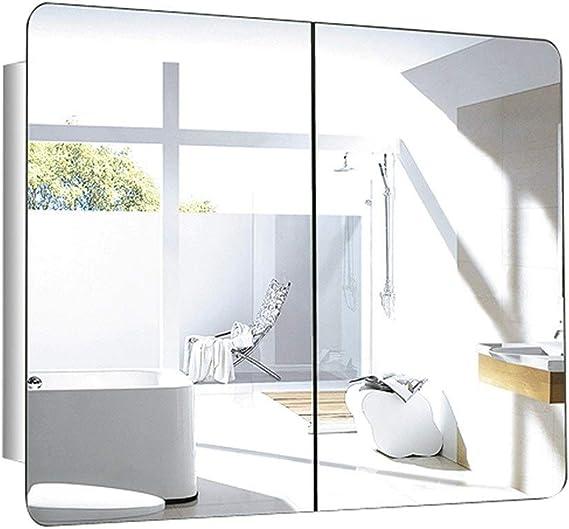 Armarios con espejo Cuarto De Baño Puerta Corredera Acero Inoxidable Gabinete De Almacenaje Cuadrada Habitación Armario De Almacenamiento (Color : Silver-B): Amazon.es: Hogar