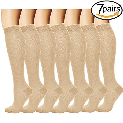 7 Pairs Compression Socks For Women and Men - Best Medical, Nursing, for Running, Athletic, Edema, Diabetic, Varicose Veins, Travel, Pregnancy & Maternity - 15-20mmHg, Small / Medium,  - Run Fun Nude