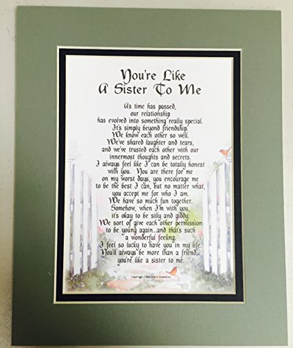 #229 You're Like A Sister to Me, Gift Poem Present For A best Friend, More Color Options