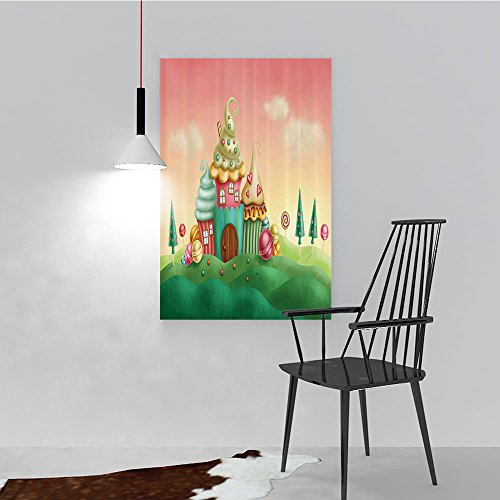 Philip C. Williams Wall Art for Living Room Decor Frameless Fantasy Houses from Cupcakes Candy Sweets in Grassland Children for Home Modern Decoration Print Decor W12 x H18 ()