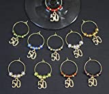 Golden Anniversary-50th Birthday-Wine Glass Charms-Set of 10-GOLD50/002-10