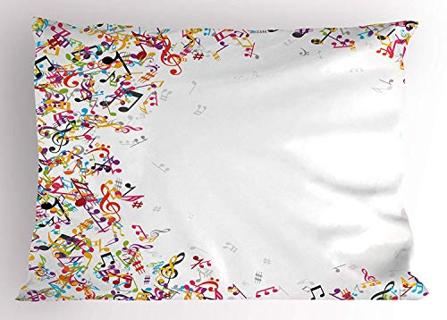 K0k2t0 Music Pillow Sham, Colorful Musical Notes with Frame Festival Singing Enjoyment Fashion Themed Print, Decorative Standard Queen Size Printed Pillowcase, 30 X 20 inches, ()