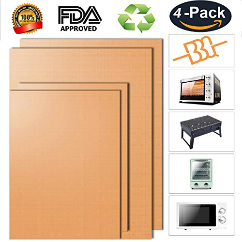 Copper Grill Mat - Set of 4 Non-stick Copper Mat & Baking Mats - FDA Approved, PFOA Free, Easy to Clean and Reusable - As Seen on TV