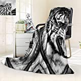 vanfan Silky Soft Plush Warm Blanket Autumn Winter Cat Expression Opposite Images Fearsome Teeth Mirror Angry Intense Wildlife,Silky Soft,Anti-Static,2 Ply Thick Blanket. (90''x70'')