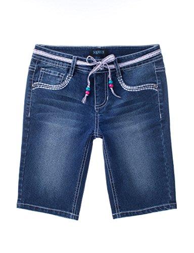 Squeeze Big Girl's Embroidered Bermuda Shorts, Marti Dark Wash (14)