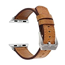 SUNKONG Leather Band for Apple Watch Brief Style Luxury Crazy Horse Genuine Leather Loop Strap Replacement Suitable for Apple Watch Series 1 Series 2 And All Model iWatch 42/38mm