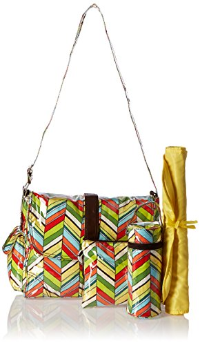 Kalencom Fashion - Bolso cambiador con accesorios, diseño de lunares, color marrón y azul Selva tropical