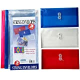 JAM Paper #10 Plastic Envelope with Button and String Tie Closure - Three Assorted Colors - Sold individually
