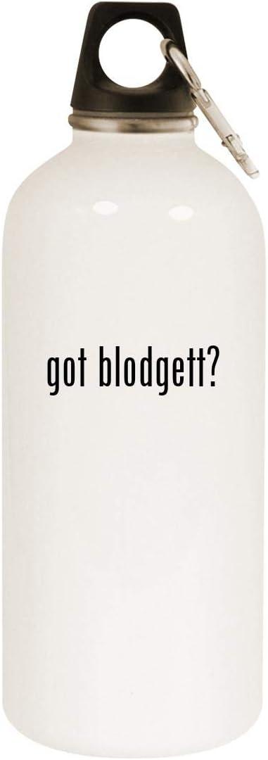 got blodgett? - 20oz Stainless Steel White Water Bottle with Carabiner, White