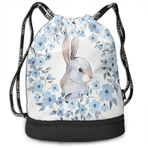 Fashion Gym Gift Printed Drawstring Backpacks Bags,Bunny Rabbit Portrait In Floral Wreath Illustration Country Style,Adjustable String Closure For Men And Women ()