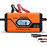 AIMTOM 7.2Amp Smart Battery Charger 9 Stages Ultimate-Safe 12V Intelligent Maintainer for Car RV SUV Truck Motorcycle Boat Lawn Mower Use, Fits All Sealed Lead Acid, Lithium, LIFEPO4 Batteries