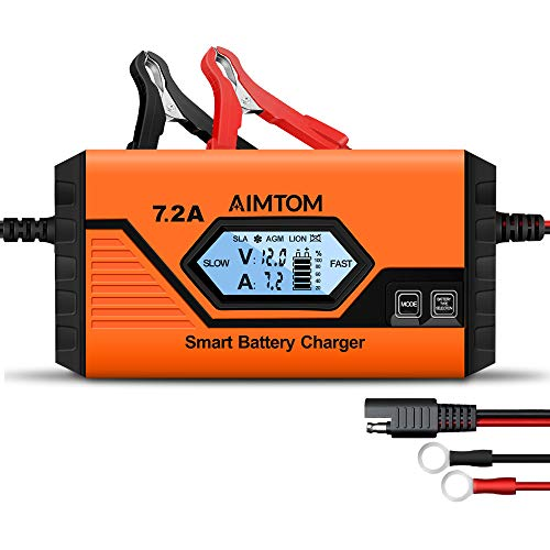 AIMTOM 7.2Amp Smart Battery Charger 9 Stages Ultimate-Safe 12V Intelligent Maintainer for Car RV SUV Truck Motorcycle Boat Lawn Mower Use, Fits All Sealed Lead Acid, Lithium, LIFEPO4 Batteries (Lifepo4 Battery Tender)