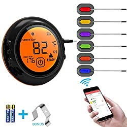 Wireless Meat Grill Thermometer Bluetooth Adapter For Ios Android Digital Wireless Thermometer Cooking Food With 6 Probes For Smokers Kitchen Grilling Oven And Outdoor Bbq Black