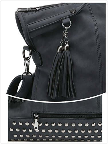 Women Tassel Rivet Handbags Motorcycle Mn Tote amp;Sue Black Punk Shoulder Studded Leather Bag Handle Top Satchel qXt01