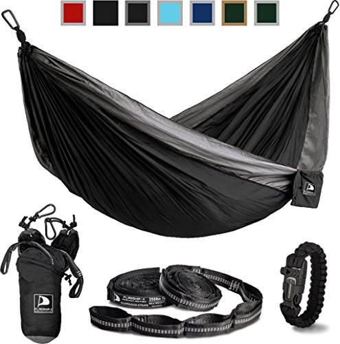 Price comparison product image Flagship-X Double Camping Hammock with Tree Straps and survival bracelet fire starter. For backpacking, 2 person travel hammock. (Black & Grey)