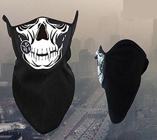 Motorcycle Neoprene Facemask Winter Snowboard Ski Half Skull Face Mask Soft Cotton Fleece Neck Ear Warmer Protection Vented Fitted Velcro Adjustable Close Biker Cycling Facemask For Honda VTR1000F/FIRESTORM (Storm Ear Warmers)