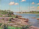 "Beach Landscape by the river and sailboat by Johan Krouthen Tile Mural Kitchen Bathroom Wall Backsplash Behind Stove Range Sink Splashback 4x3 4"" Marble, Matte"