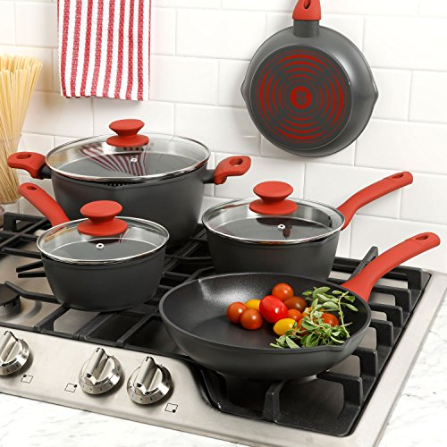 Weight Watchers Livingson 8 Piece Cookware Set, Crimson Handles