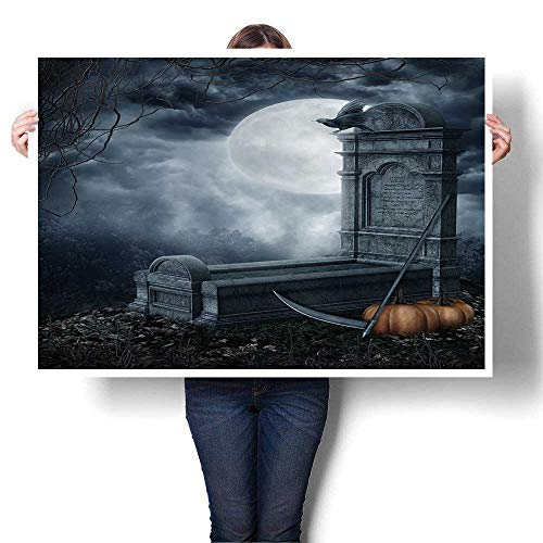 DIY 3D Painting,Halloween Scenery with a Spooky Tombstone and Pumpkins Home Wall Decor,28