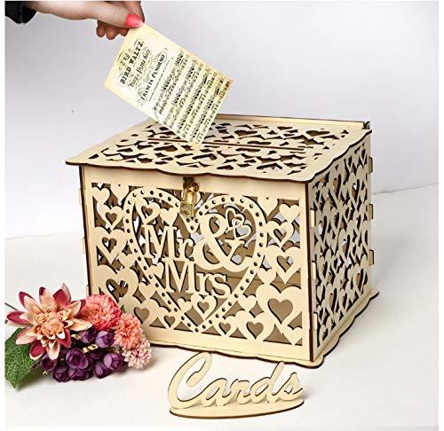marr/ón regalos Muy rom/ántico Lalia 30 x 24 x 23 cm Caja de regalo de madera Con candado para regalos de boda para novios. dorado para tarjetas felicitaciones