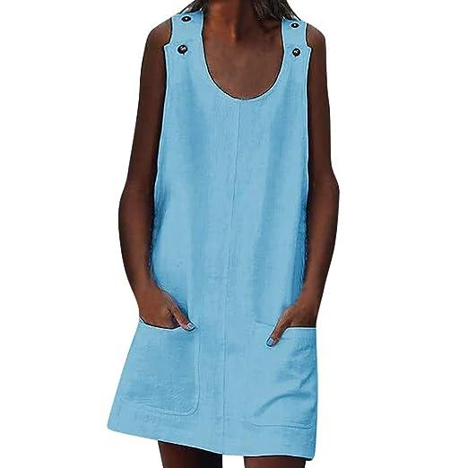 540e6d604d43cd Triskye Crew Neck Women Dresses Shift Daily Casual Button Plain Cotton  Dresses at Amazon Women's Clothing store: