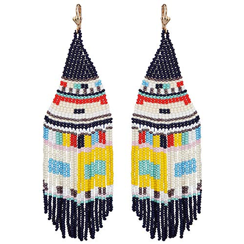 El Allure Seed Bead Native American Style Inspired Boho Patterned Fringe Trendy Handmade Preciosa Jablonex Seed Beaded Long Earring For Women