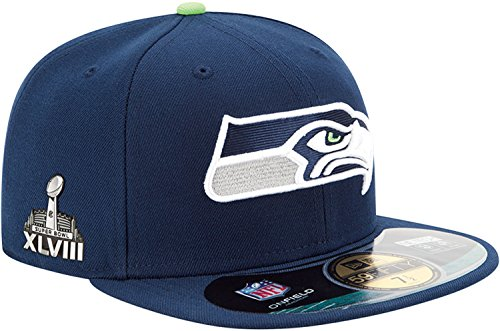 Seattle Seahawks Super Bowl XLVIII Patch New Era 59FIFTY On Field Fitted Cap Hat (7 5/8, Navy Blue)