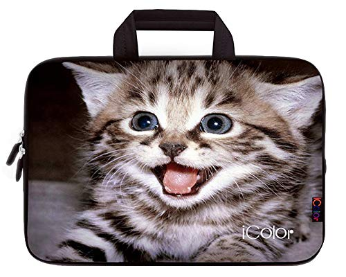 iColor Kitten 11.6 12 12.1 12.2 Inch Neoprene Laptop Carrying Bag Case, Protective Chromebook Ultrabook Sleeve Case Cover Compatible with Most 11.6-12.2 Inches Netbooks/Laptops/Notebooks(IHB12-08) (E Fun Netbook)