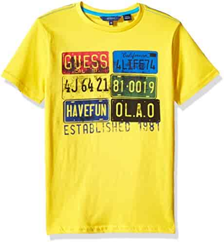 GUESS Big Boys' Short Sleeve License Plate T-Shirt