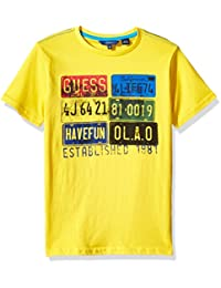 GUESS Big Boys' Short Sleeve License Plate T-Shirt