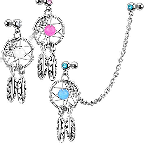 (Covet Jewelry Dream Catcher with Gemmed Double Cartilage/Tragus Barbell Chain Linked Dangle 316L Surgical Steel)