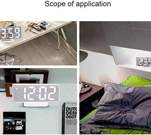 Litthing R/éveil Num/érique R/éveils Electroniques avec Affichage LED Lampe de Chevet Miroir Temp/érature Humidit/é Calendrier Sonore USB Rechargale