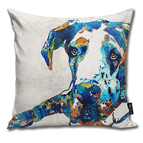Togift Throw Pillow Cover 18 x 18 Inch 45 x 45 cm Square Great Dane Art - Stick with Me - by Sharon Cummings Pillow Cover for Sofa Bedroom Car Decor (Cumming On Pillow)