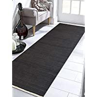 Rugsotic Carpets Hand Woven Kelim Wool 3 x 13 Contemporary Runner Rug Charcoal D00111 With Fringe