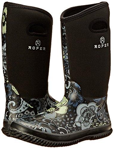 Roper Women's Barnyard Prints Rain Shoe, Black, 9 M US Photo #8